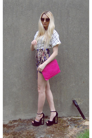 River Island bag - OASAP sunglasses - 6ks top - Glamorous skirt