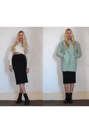 Sheinside coat - Missguided boots - Topshop skirt - River Island jumper