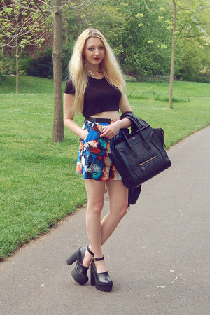River Island shorts - Sheinside jacket - Celine bag - River Island heels