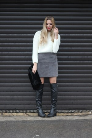 Dorothy Perkins boots - Topshop bag - warehouse skirt - OASAP jumper