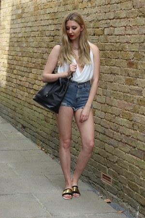 OASAP shorts - Primark bag - OASAP sandals - Pretty Little Thing bodysuit