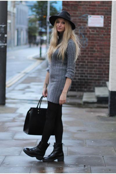 Boohoo coat - Missguided boots - AX Paris dress - Boohoo hat - H&M bag