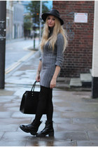 Boohoo coat - Missguided boots - AX Paris dress - Boohoo hat - H&M bag