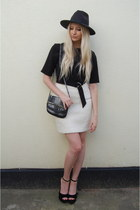 Boohoo hat - asos bag - whistles skirt - Zara top - Heelberry heels