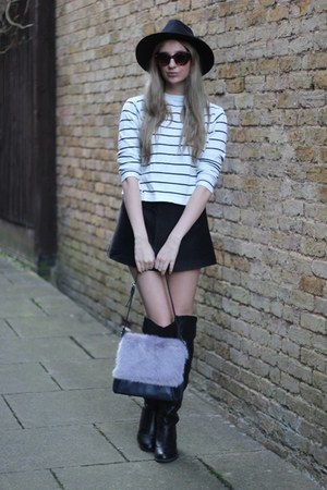 Boohoo hat - Dorothy Perkins boots - OASAP sweater - whistles bag