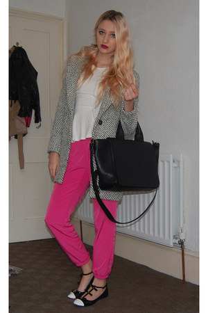 Topshop top - Ebay coat - Zara bag - Topshop flats - Topshop pants