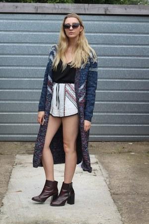 MinkPink shorts - Zara boots - Boohoo sunglasses - MinkPink cardigan