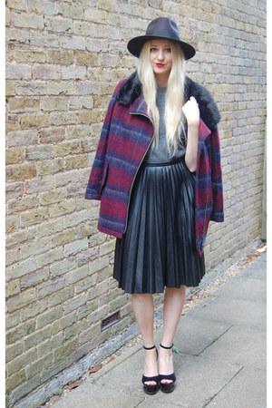 House of Fraser coat - Boohoo hat - Primark sweater - whistles skirt