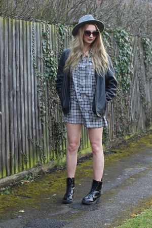 Missguided boots - Missguided dress - warehouse hat - vintage jacket