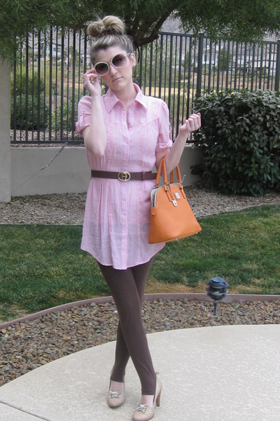 Chloe sunglasses - pink blouse - brown belt - brown American Apparel leggings -