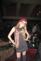 gray American Apparel dress - scarf - Jessica Simpson stockings - Gap hat - Real