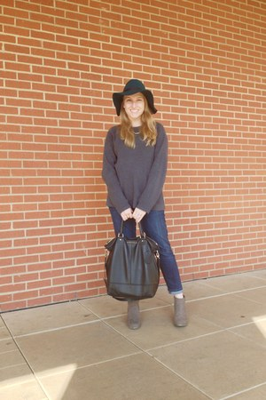 silver calvin klein sweater - green PacSun hat - black dvf bag