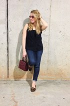 crimson Rebecca Minkoff bag - brown Nine West flats - blue Adrianna Papell vest