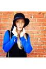 Black-steve-madden-boots-blue-target-dress-black-nixon-hat