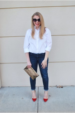 white stafford shirt - brown BCBG bag - red wild diva heels