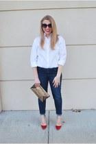 white stafford shirt - brown BCBG bag - red wild diva heels