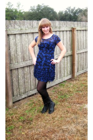 Jcpenny boots - blue bows Lauren Conrad dress - patterned Mixit tights
