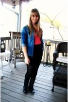 black boots - blue denim shirt H&M shirt - coral anchor buttons MNG shirt
