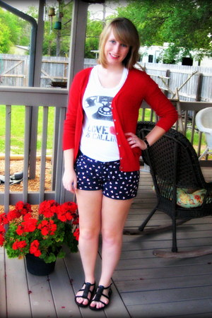 red Old Navy cardigan - navy hearts Forever 21 shorts