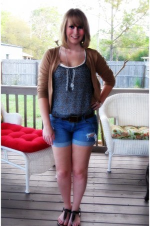 brown H&M cardigan - dark brown bag - navy ripped Mudd shorts