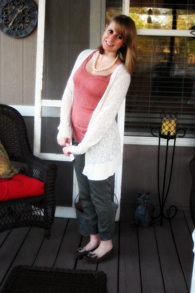 ivory Lauren Conrad cardigan - coral beaded Forever21 shirt