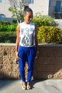 White-topshop-t-shirt-blue-irenes-story-pants-nude-wanted-flats