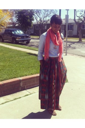 brick red vintage skirt - sky blue H&M shirt - salmon Forever 21 scarf