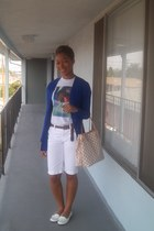 white Louis Vuitton bag - white Gap shorts - blue Forever 21 cardigan - burnt or