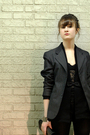 Black-gap-leggings-gray-thrifted-blazer-black-gap-cardigan-black-gift-belt