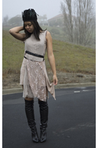 beige vintage dress - black handmade accessories - black Chanel boots