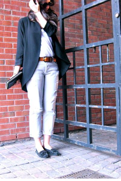 black wilfred blazer - black Minnetonka flats - silver sevens pants - burnt oran