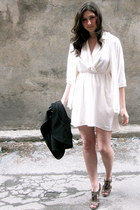 white Le Fou dress - black wilfred blazer - dark brown Aldo heels - white Olivia