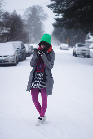 green hat - yellow shirt - hot pink tights - dark gray skirt