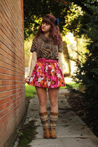 floral skirt - boots - zebra shirt - heart tights - scarf