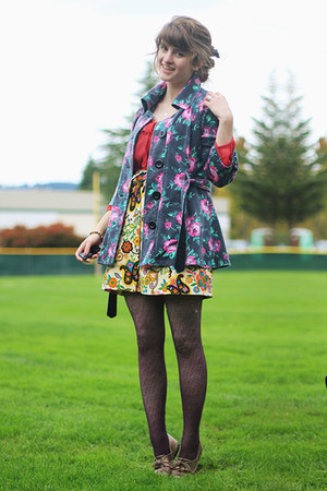 hot pink floral jacket - coral shirt - puce lace tights - mustard floral skirt