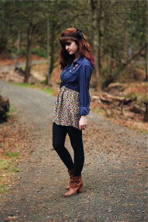 bronze boots - red floral dress - navy shirt