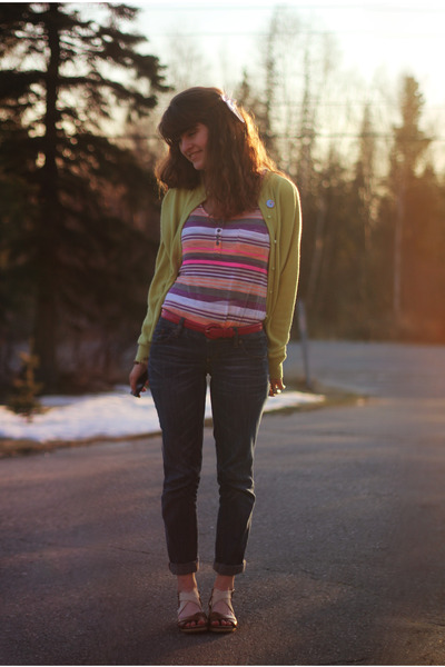 orange striped shirt - camel heels - chartreuse cardigan - hot pink belt