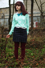 Light-pink-floral-shirt-bronze-boots-aquamarine-polka-dot-sweater