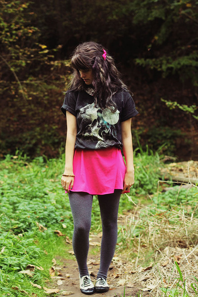 hot pink dress - sky blue three wolf moon shirt - gray tights