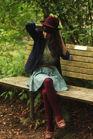 maroon hat - navy pinstripe blazer - lime green floral shirt - maroon tights