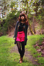 Bronze-boots-black-floral-dress-gray-striped-tights-hot-pink-shorts