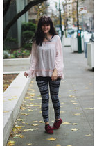 navy polka dot shirt - light pink lace shirt - maroon shoes - dark gray leggings