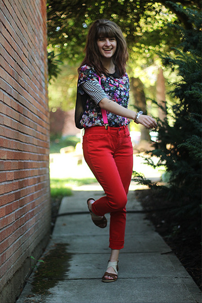 black striped dress - red jeans - magenta floral shirt
