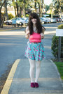 Hot-pink-lace-dress-light-pink-tights-sky-blue-floral-shorts
