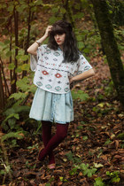 sky blue denim dress - tawny patterned shirt - brick red tights