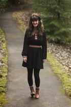 tawny boots - black dress