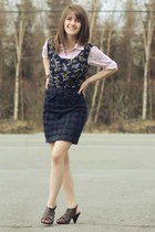 purple floral dress - light pink floral shirt - navy skirt