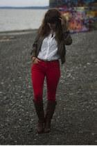 red pants - brown boots - ivory lace shirt - navy polka dot shirt