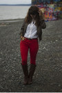 Brown-boots-ivory-lace-shirt-navy-polka-dot-shirt-red-pants