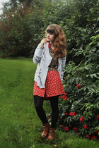 bronze boots - red floral dress - tawny tiger print shirt - black tights